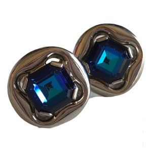 Vintage Blue Glass Cuff Links